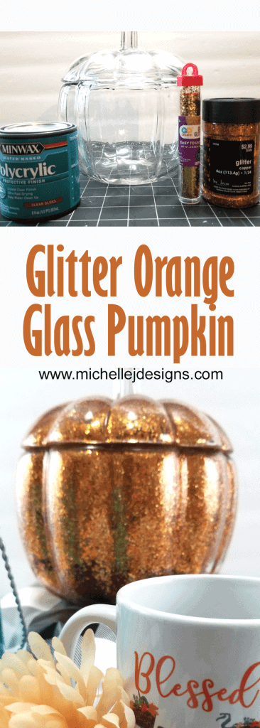 Pinterest pin showing the supplies for the project and the finished orange glass pumpkin