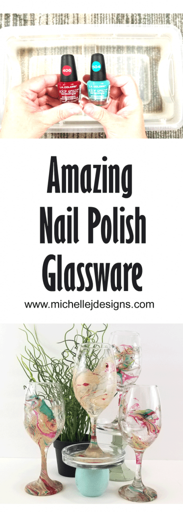 Pinterest pin for Nail Polish wine glasses.