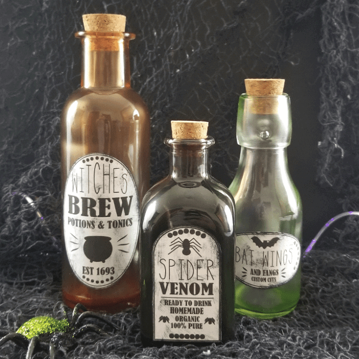 Tinted Glass Potion Bottles for Halloween