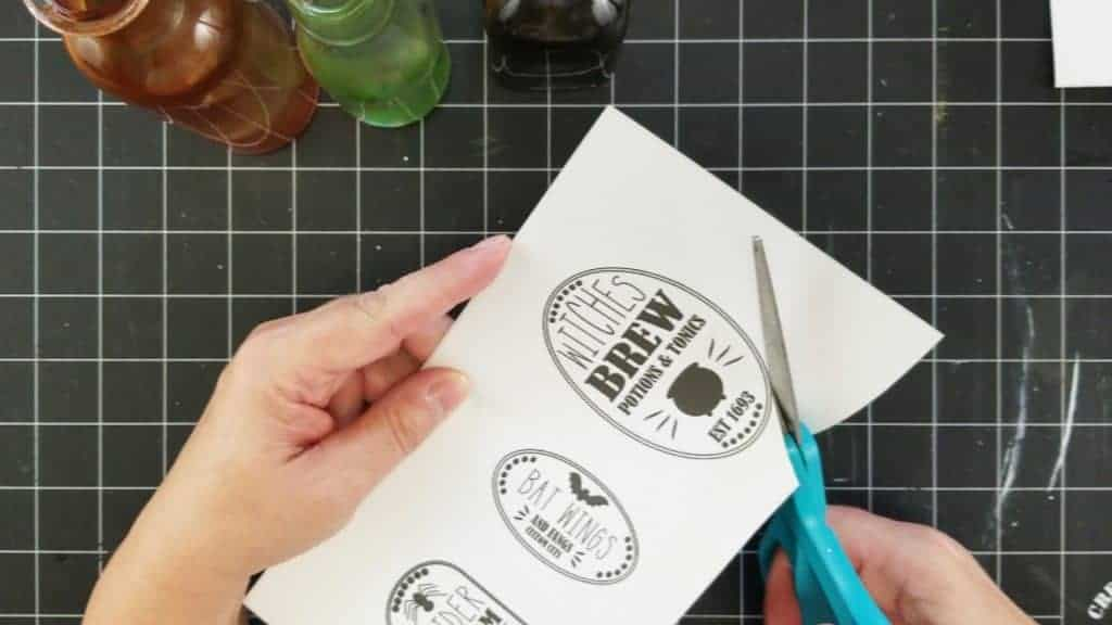 Cutting out the potion labels