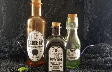 Tinted glass bottles with potion labels