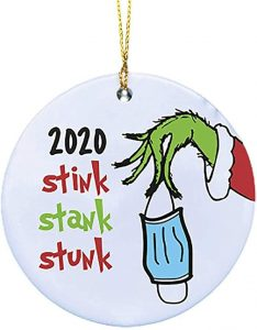 Stink, Stank, Stunk ornament with the Grinch hand stealing a mask