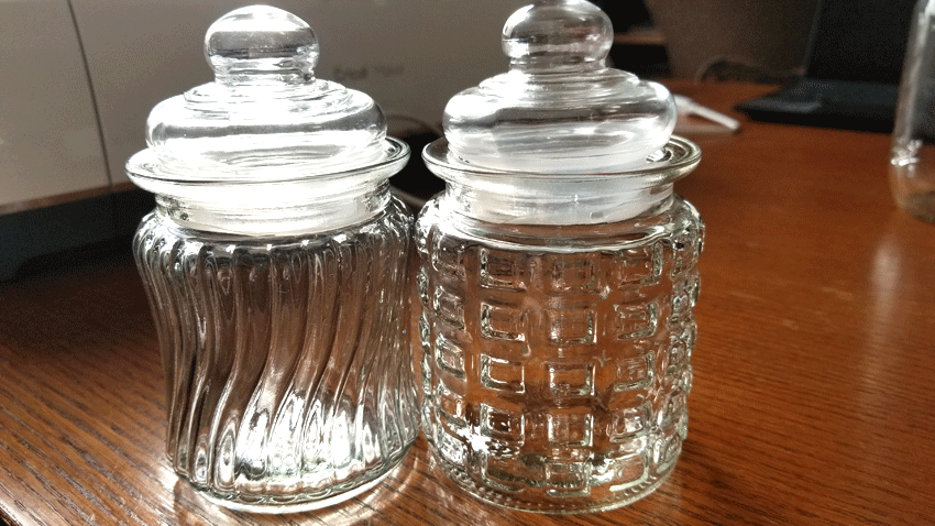 Dollar Tree glass jars before the white chalk paint.