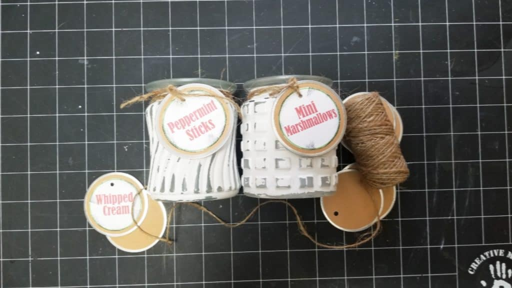 Dress up the painted glass jars with twine and printable tags.