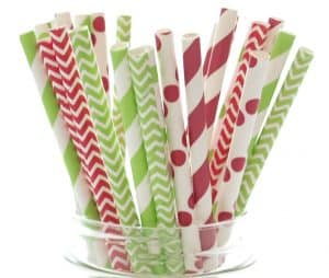 Holiday red and green paper straws with stripes and polka dots