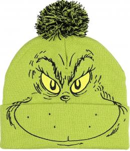 Green Grinch winter cap with pom pom