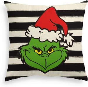 Striped Grinch face throw pillow