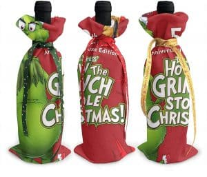 Set of 3 Grinch wine bottle covers.