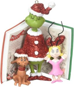 Dept 56 ornament with the book, the Grinch, Max and Cindy Lou Who