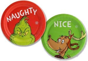 Grinch and Max naughty and nice paper dessert plates