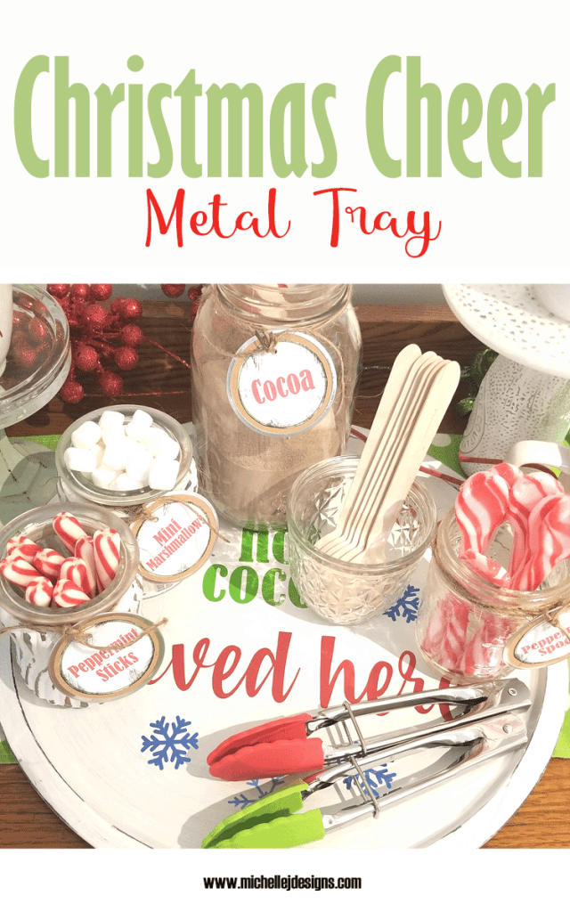 A fun and colorful Hot Cocoa bar with a metal tray