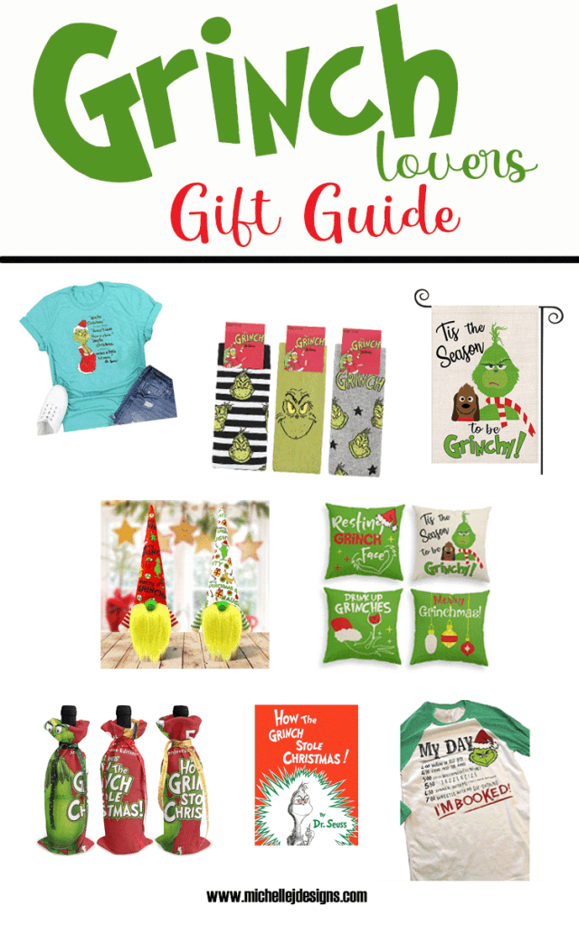 Pictures of some of the different Grinch products on the gift guide list.