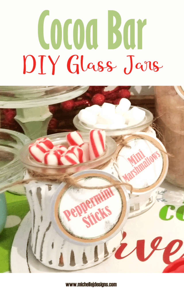 Finished painted glass jars for the hot cocoa bar