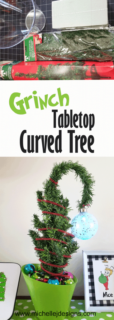 Supplies pic and after pic of the Grinch Curved Tree