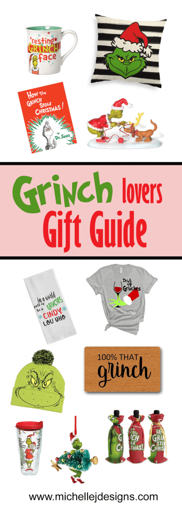 Pinterest image with a lot of Grinch gift items to share