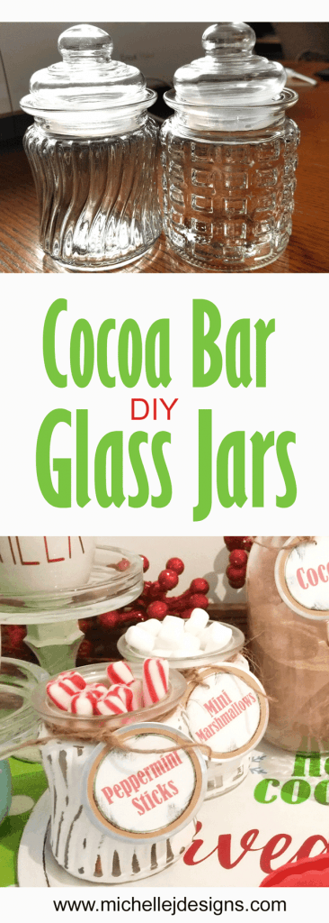 Finished diy glass jars with peppermint sticks and mini marshmallows.