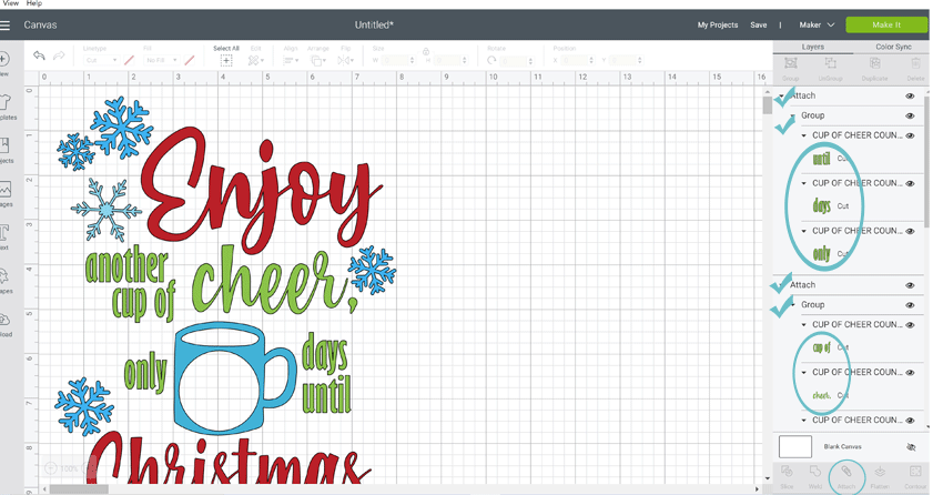 Screenshot of Cricut Design Space and the countdown to Christmas svg cut file.