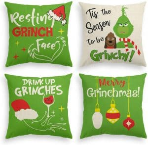 Set of 4 Grinch throw pillows for your home.