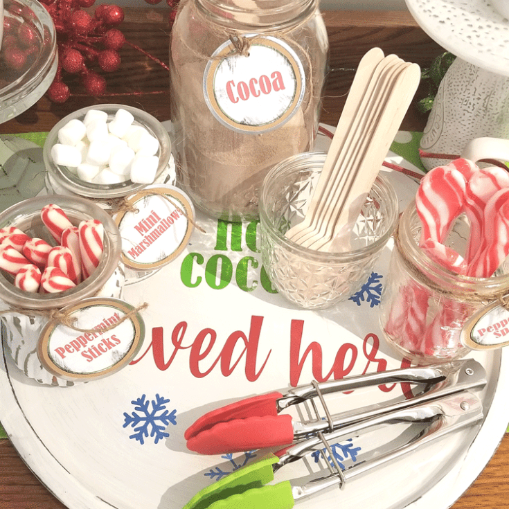 Finished glass jars for the hot cocoa bar