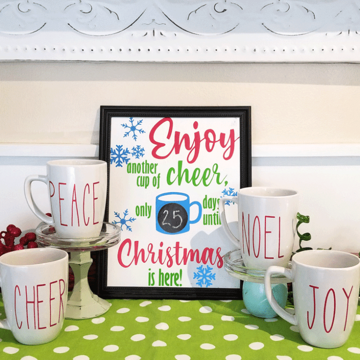 A cute cup of cheer countdown. Have a cup of cheer as Christmas draws near.