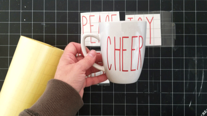 "The finished ""cheer"" mug in red luster vinyl from StyleTech Craft"