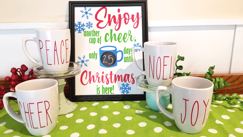 The finished sign and mugs for the hot cocoa bar.