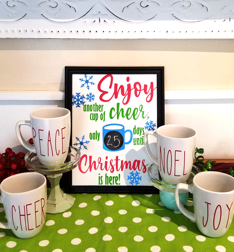 Finished countdown to Christmas sign and mugs.