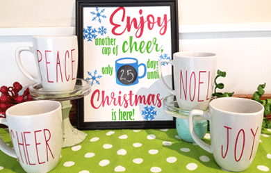 Finished mugs and Countdown to Christmas sign