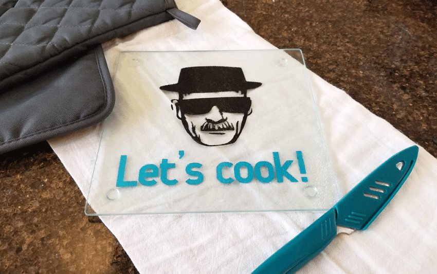 The finished Breaking Bad glass cutting board.