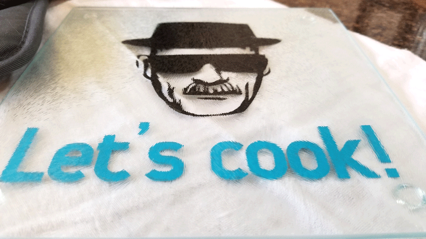Finished close up view of the Breaking Bad glass cutting board
