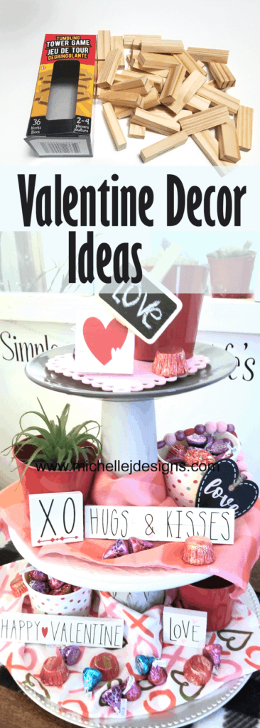 Create fun items for Valentine Tiered Trays using Dollar Tree items.