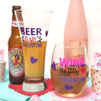 Finished beer and wine glasses with color changing vinyl