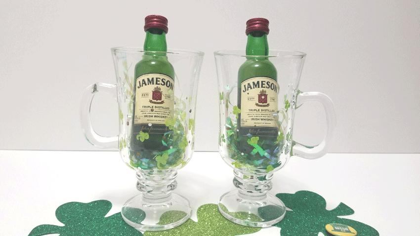 Finished Irish Coffee Mugs with mini bottle of Irish Whiskey as a St. Patrick's Day gift idea