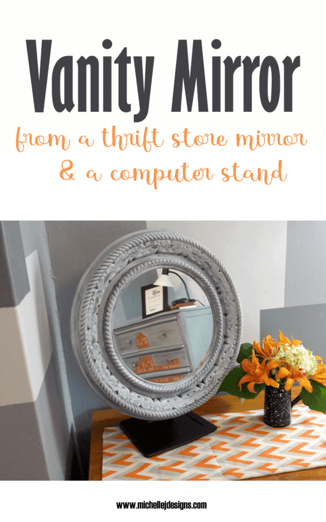 The finished vanity mirror made from a computer stand and a garage sale mirror.
