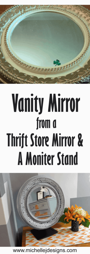 The before and after pictures of the vanity mirror made from a garage sale mirror and a computer stand.