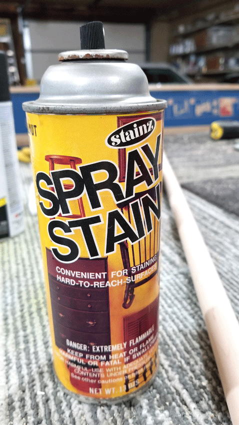 Spray stain that I found in the garage to use on the wood pieces of the tiered tray