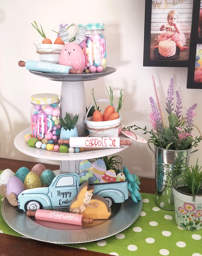 The finished Easter Tiered tray with the DIY mini wood rolling pins