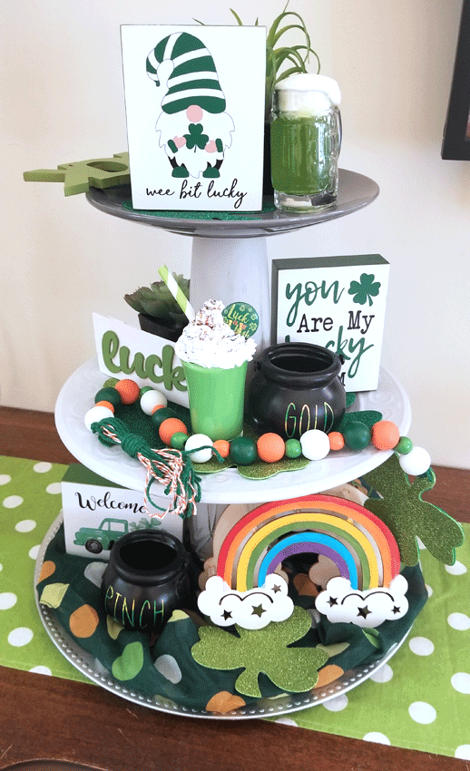 The faux dessert is front and center on my finished St. Patrick's Day three tiered tray.