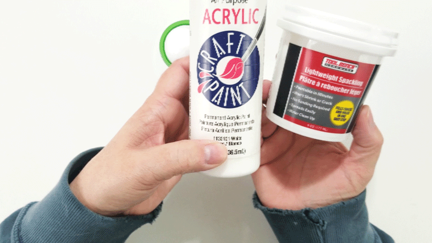 The white paint and the lightweight spackle I used for the faux whipped cream.