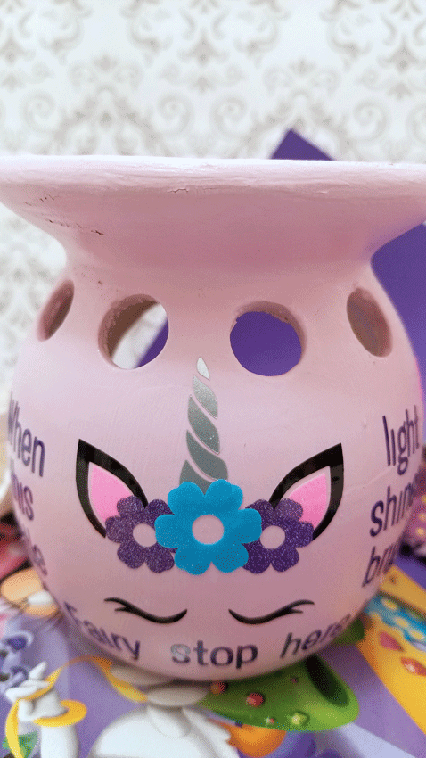 The front of the tooth fairy luminary with all of the vinyl applied.