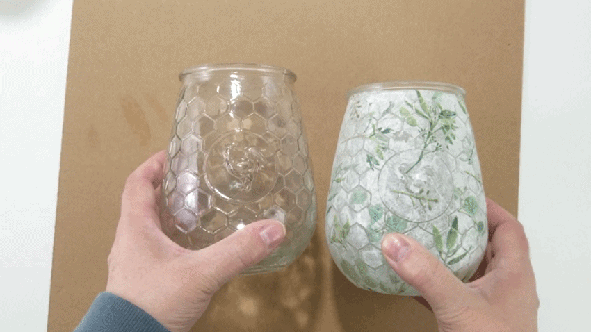 Before and after glass candlholders