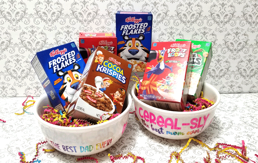 Finished bowls with mini boxes of cereal added as a gift.
