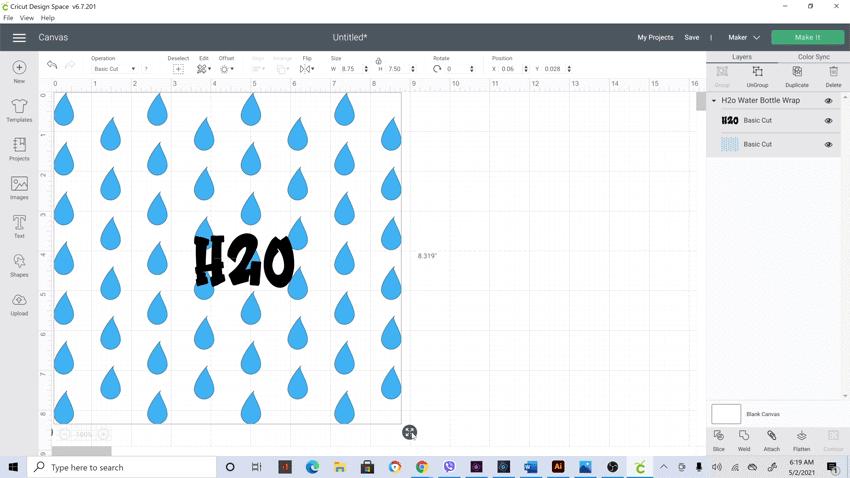 Screen shot of water bottle wrap in design space.