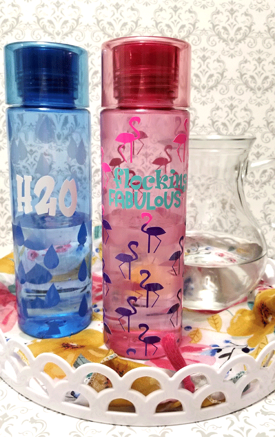 finished skinny water bottles with color changing vinyl