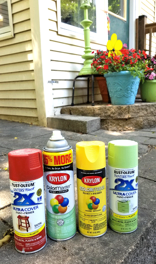 The four spray paint colors I used for the outdoor cat planters.