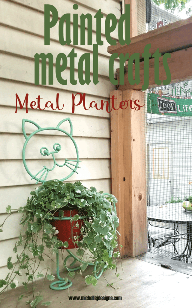 Finished paint for metal crafts - outdoor planter.  A cat planter painted with green and orange spray paint.