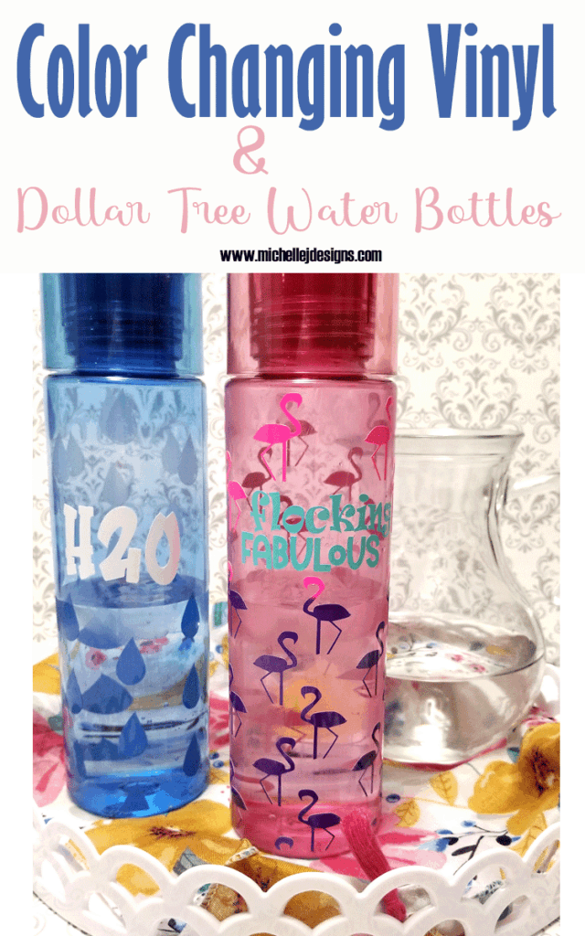 Finished water bottles with a color changing vinyl wrap design all the way around.