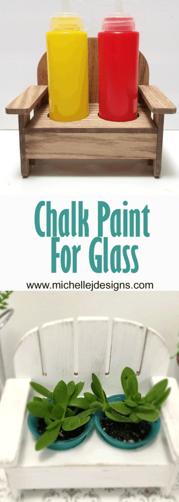 Finished small bench with chalk painted wood and chalk painted glass succulent planters.