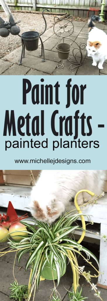 Finished painted metal outdoor planters for our catio space.  Paint for Metal crafts