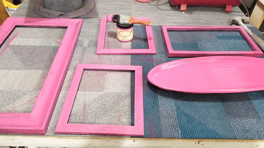Pink frames after the first coat of chalk paint
